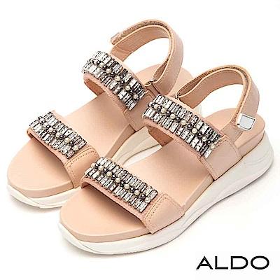 ALDO 原色鏤空繫帶佐珍珠水鑽魔鬼氈式厚底涼鞋~亮粉紅色