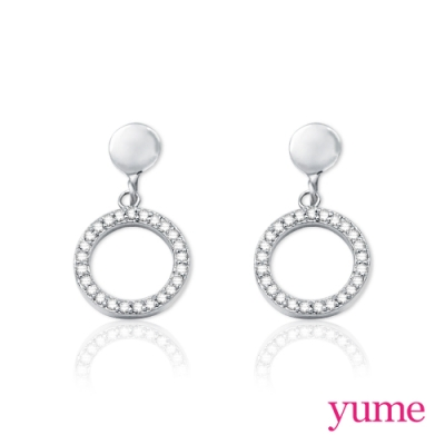 【YUME】 純銀耳夾 - 圈圈滿鑽