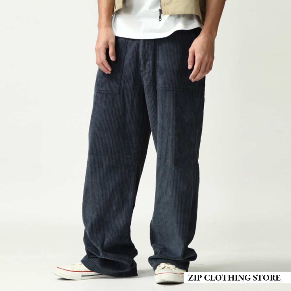 燈芯絨休閒工作褲(2色) ZIP日本男裝