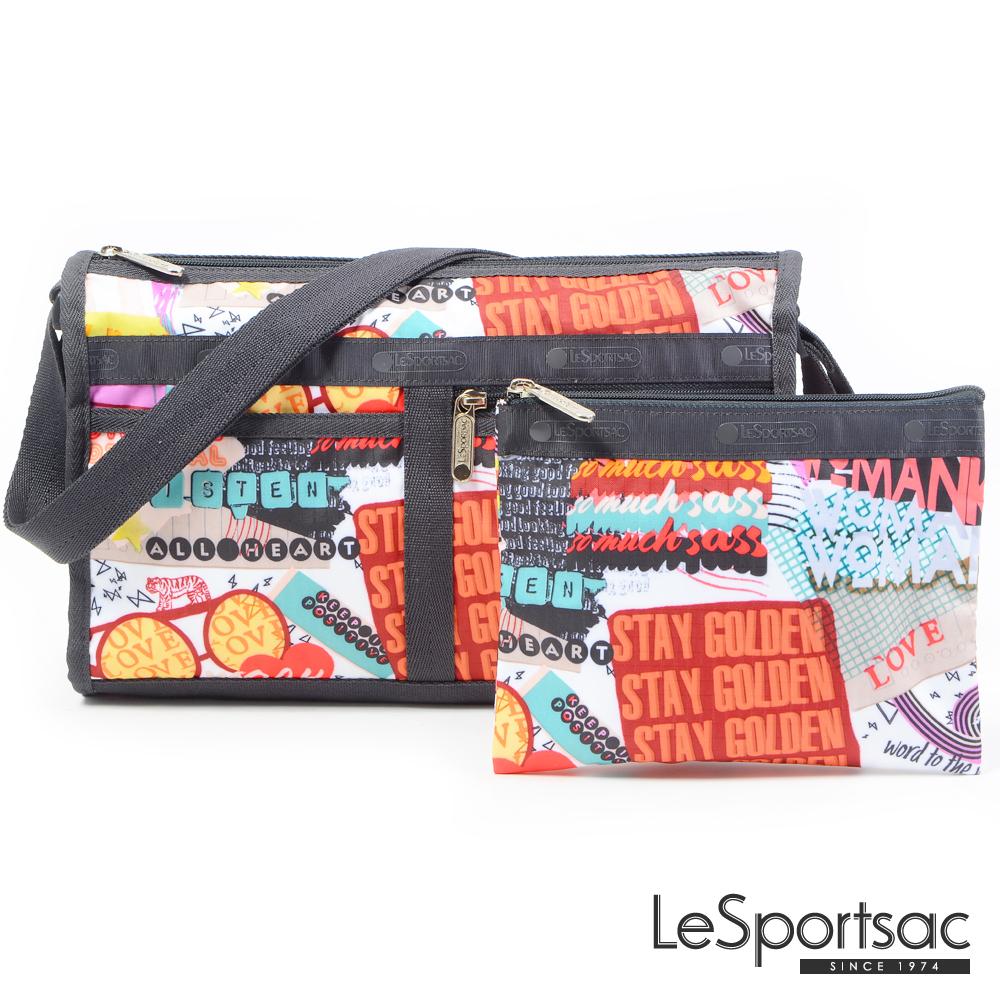 LeSportsac - Standard雙口袋斜背包-附化妝包(街頭塗鴉)
