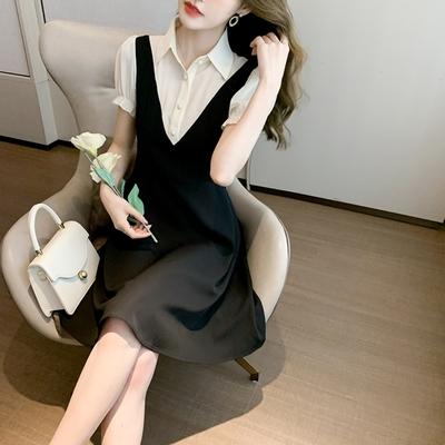 撞色拼接翻領假二件黑色洋裝S-XL-Dorri