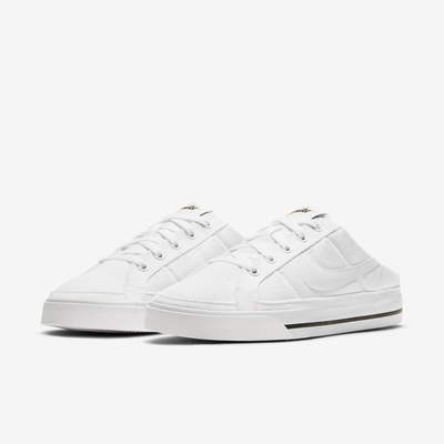 Nike 休閒鞋 Court Legacy Mule 女鞋 基本款 輕便 半包拖 套腳 帆布 穿搭 白 黑 DB3970-100