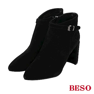 BESO 都會風情 皮革搭釦粗跟短靴~黑