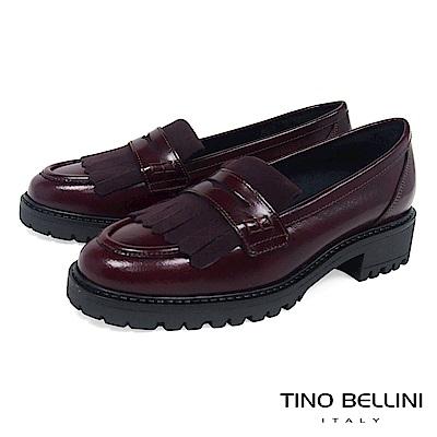 Tino Bellini 義大利進口復古學院風單層流蘇樂福鞋 _ 酒紅