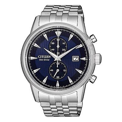 CITIZEN 星辰 GENTS 光動能計時鋼帶錶-藍CA7001-87L
