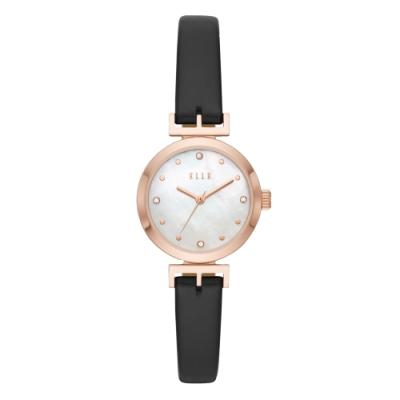 ELLE ODEON系列晶鑽貝殼面腕錶-黑(ELL21004)/30mm