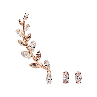 SWAROVSKI 施華洛世奇 Mayfly璀璨水晶葉子玫瑰金不對稱耳環
