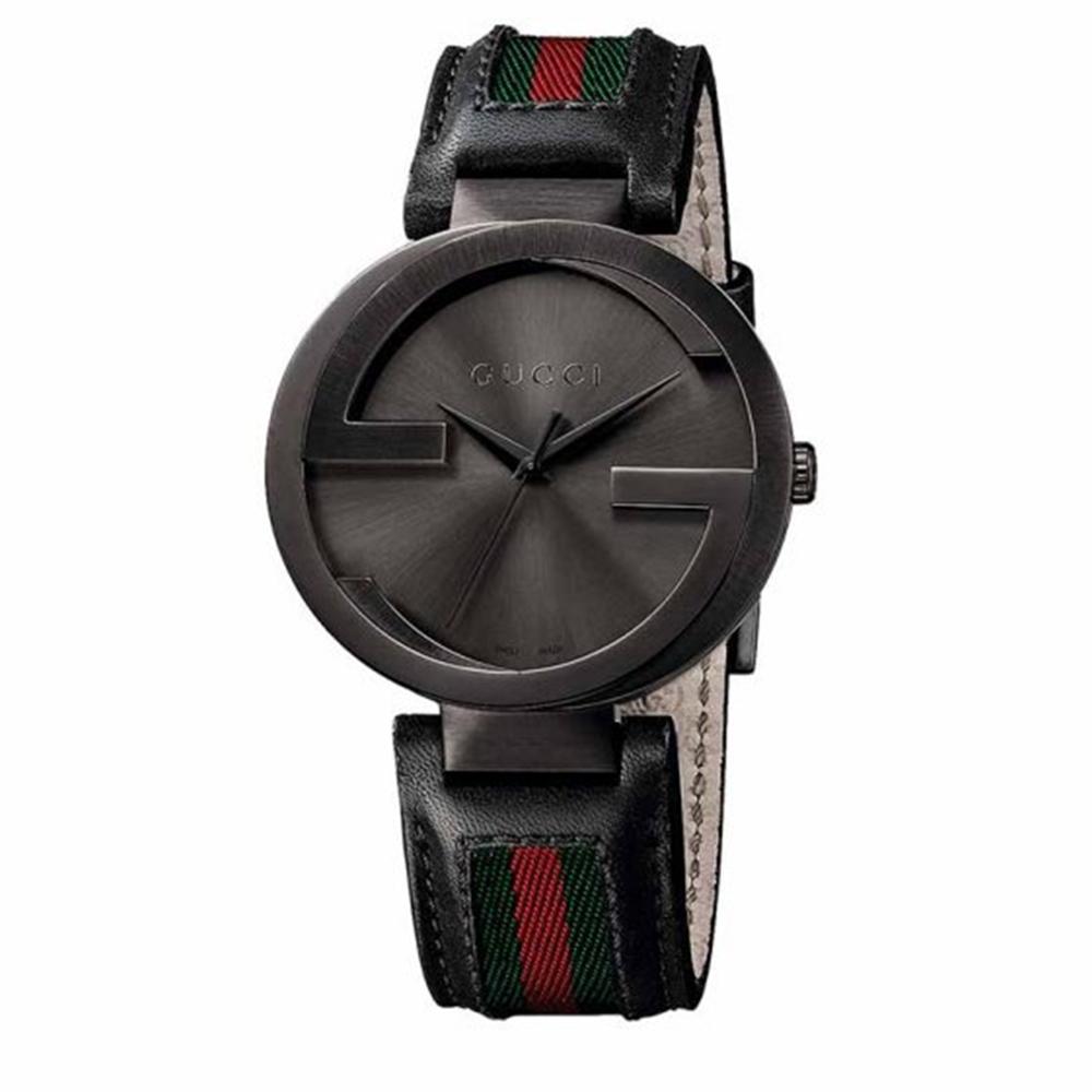 GUCCI 古馳 Interlocking 雙G紅綠時尚腕錶(YA133206)x黑x42mm