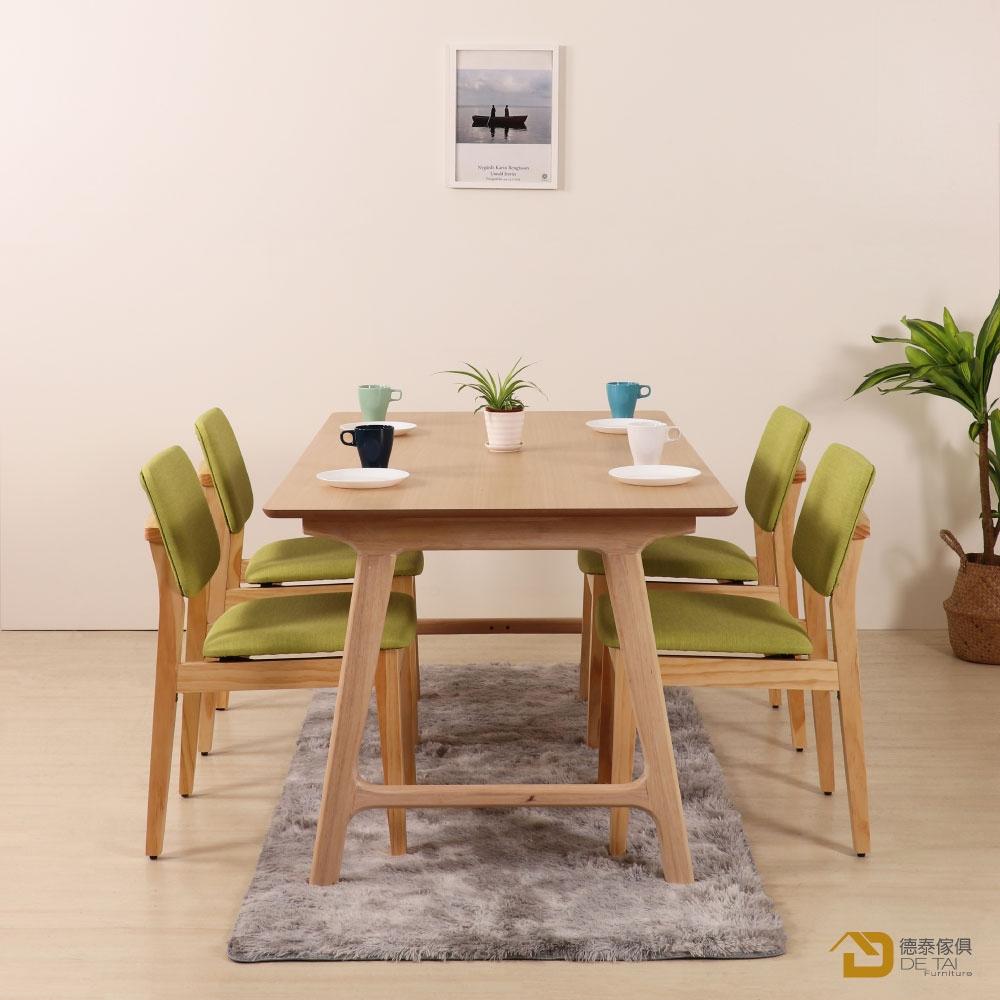 D&T 德泰傢俱 Nova北歐時尚北美松木椅(原木色+綠色貓抓皮)寬45X深51X高79公分