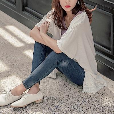 蕾絲雕花拼接連袖寬鬆長版開襟罩衫-OB大尺碼