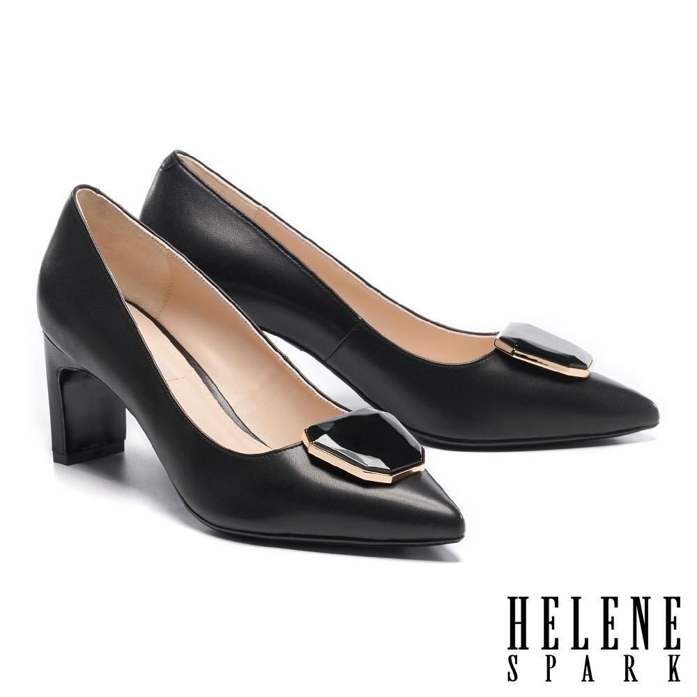 高跟鞋 HELENE SPARK 知性典雅鏡面烤漆飾釦尖頭高跟鞋-黑