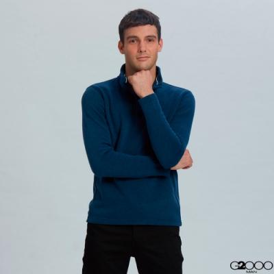 G2000立領素面長袖T恤-深藍色