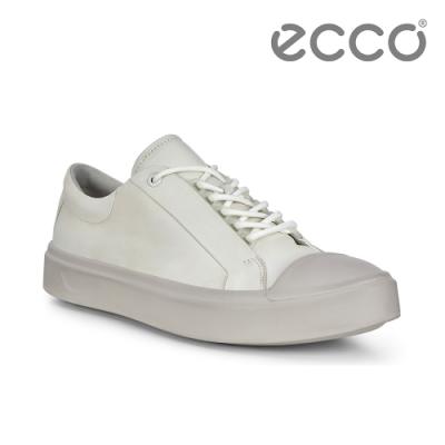 ECCO FLEXURE T-CAP M 輕彈皮革百搭休閒鞋 男-白
