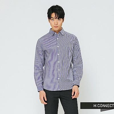 H:CONNECT 韓國品牌 男裝-條紋撞色對稱襯衫-藍