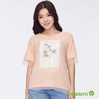 bossini女裝-圓領網紗短袖上衣-花朵粉橘