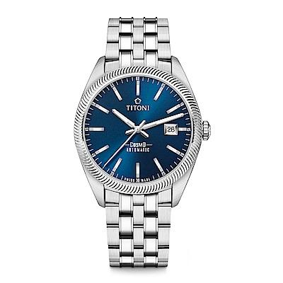 TITONI瑞士梅花錶 宇宙系列( 878  S- 612 )尊爵藍/鍊帶/ 41 mm