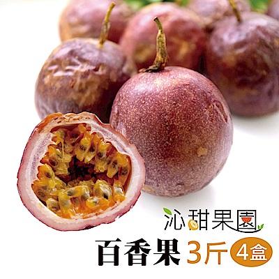 沁甜果園SSN 高雄型農傳統百香果3台斤/盒,(共4盒)
