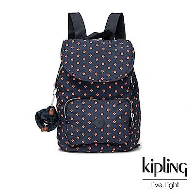 Kipling紅黃幾何印花掀蓋後背包-CAMPANA