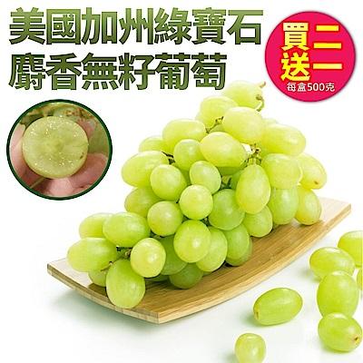 【天天果園】美國加州綠寶石麝香無籽葡萄(500g) x3盒