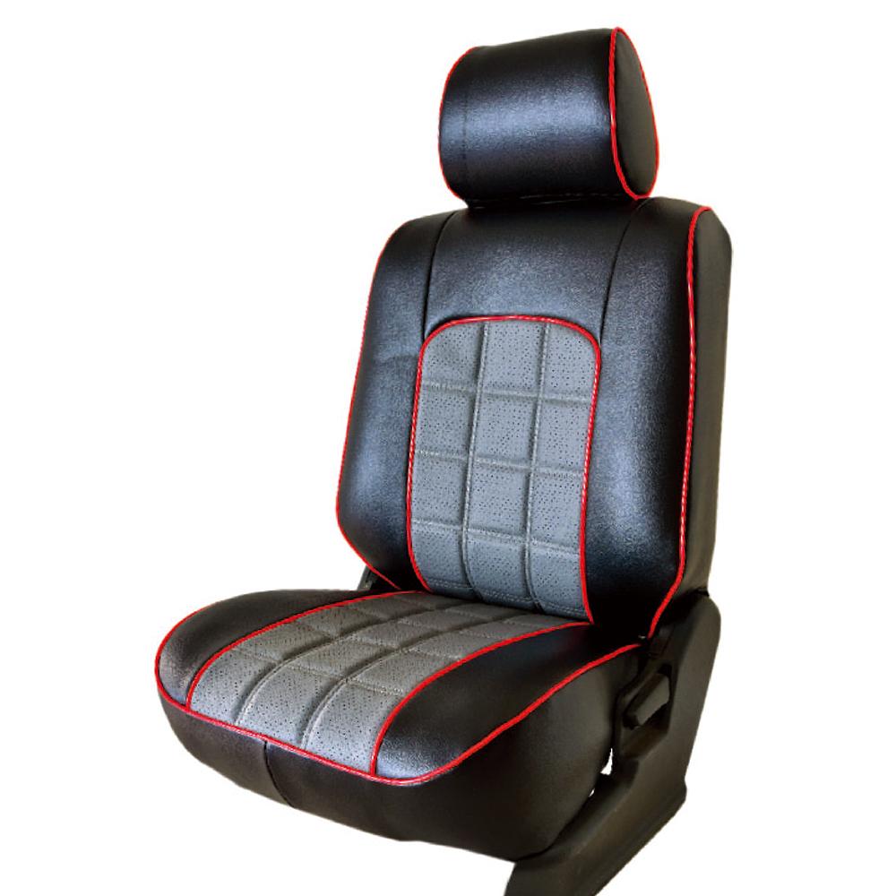 【葵花】量身訂做-汽車椅套-日式合成皮-格紋配色C-露營車款-雙前座-第一排2人座