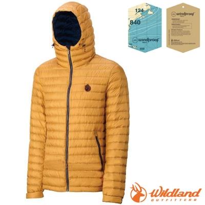 荒野 WildLand 男款 輕時尚連帽羽絨外套(保暖係數高達700FP).夾克_駱黃