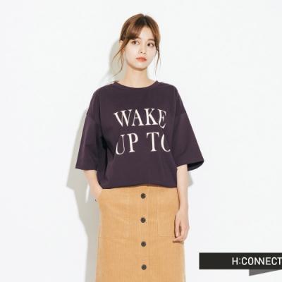 H:CONNECT 韓國品牌 女裝-微寬鬆印字短T-紫