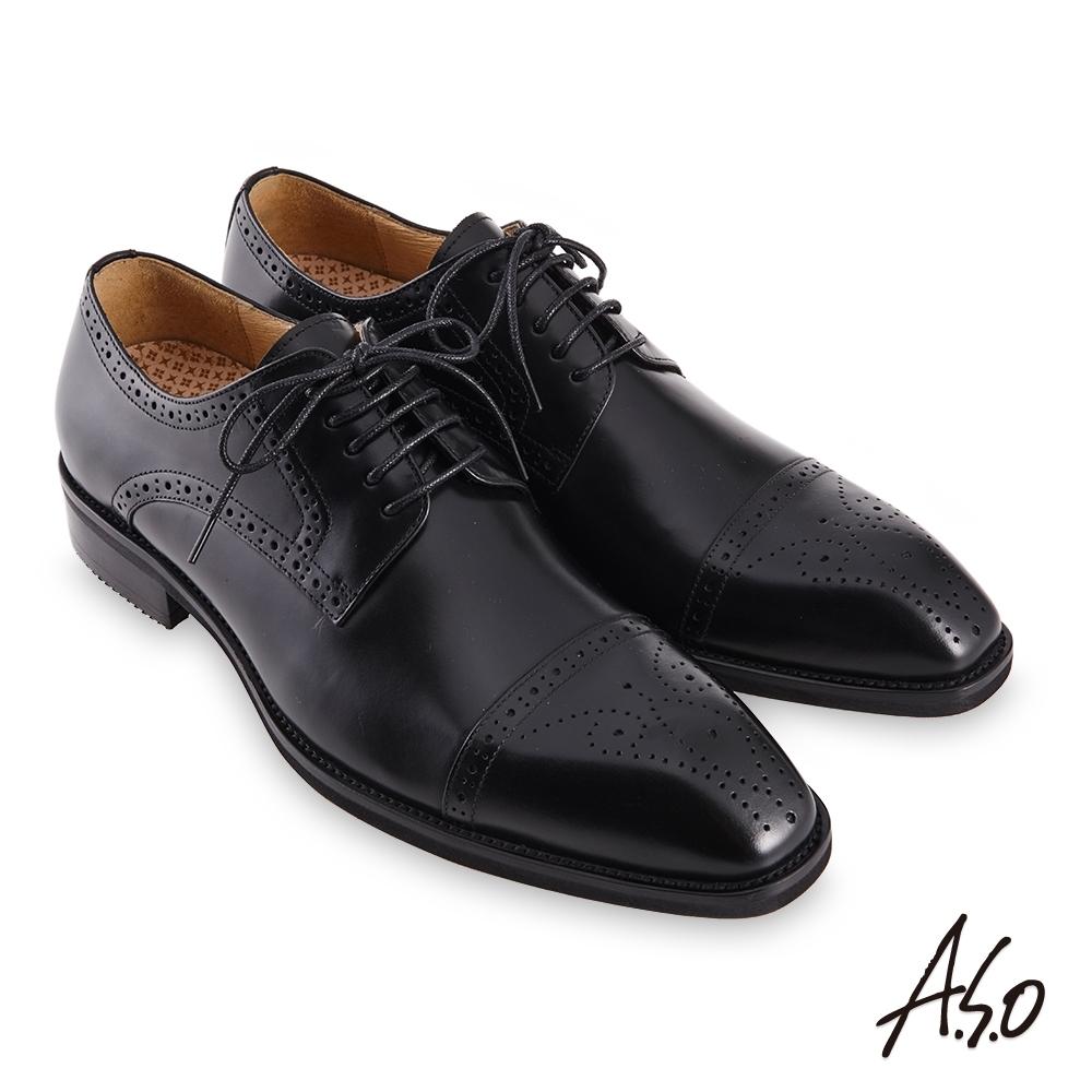 A.S.O 職場通勤勁步健康刷色工藝德比紳士鞋-黑