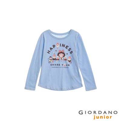 GIORDANO 童裝可愛手繪風印花長袖T恤-23 粉藍