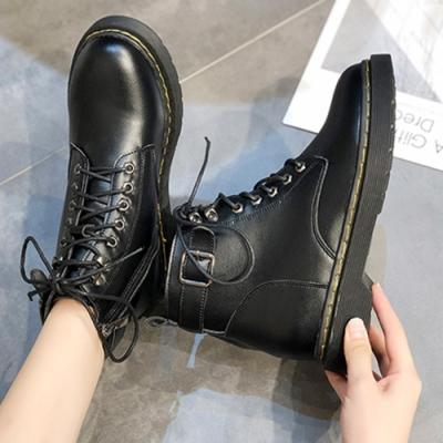 KEITH-WILL時尚鞋館-優雅素面綁帶英倫綁帶中筒靴-黑色