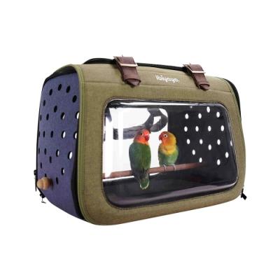 IBIYAYA依比呀呀-移動櫥窗透明寵物提包(綠灰)+實木小型鳥站架
