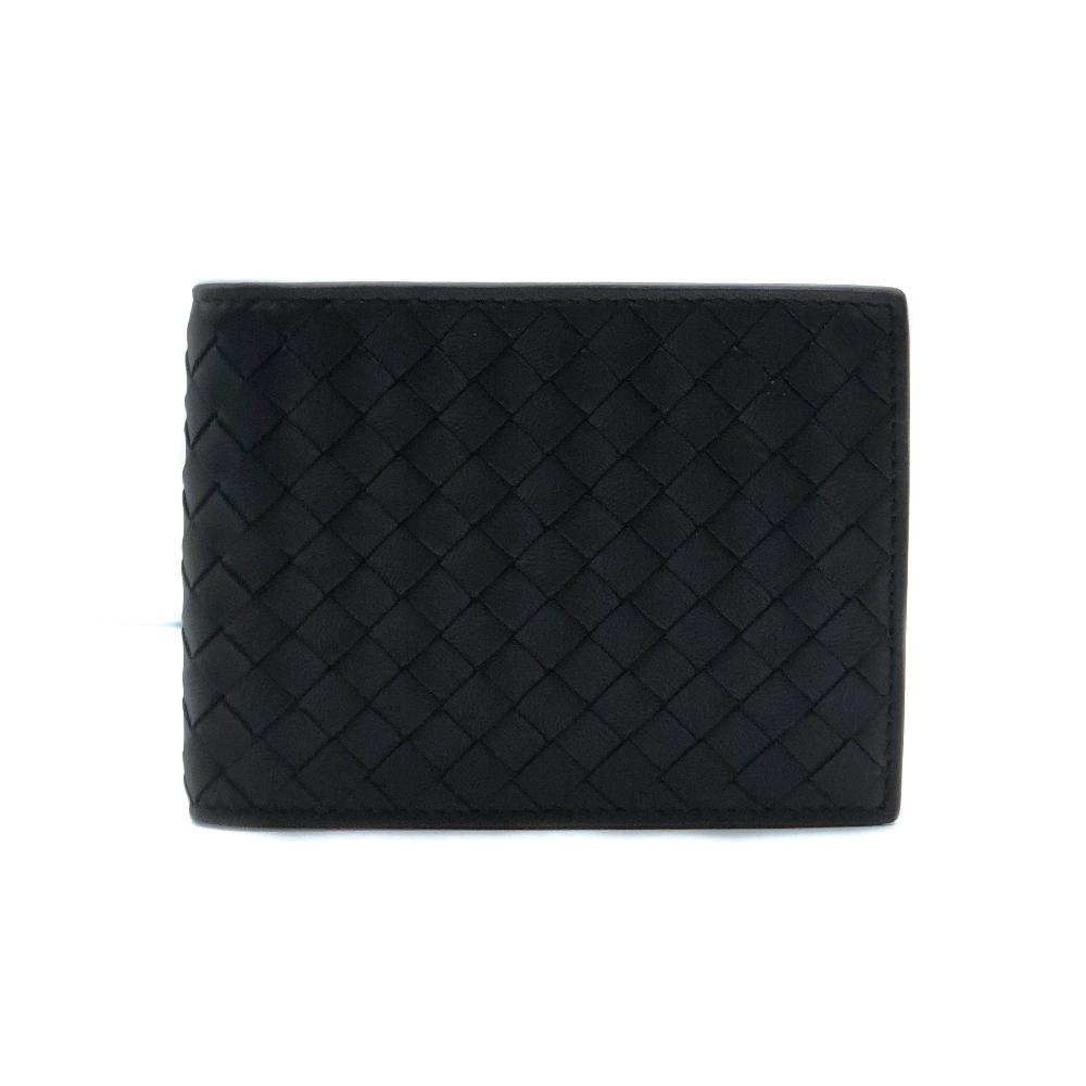 BOTTEGA VENETA 黑牛皮編織對開零錢袋短夾