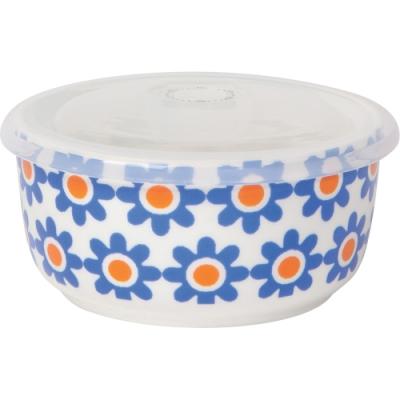 《NOW》圓型瓷製密封盒(小花橘藍275ml)