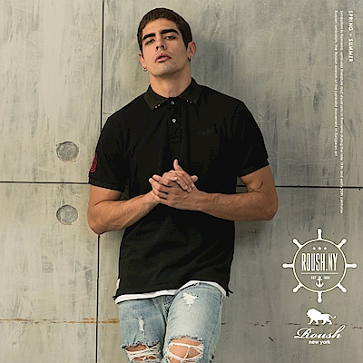 Roush 立體刺繡特殊領片設計水洗POLO衫(3色)