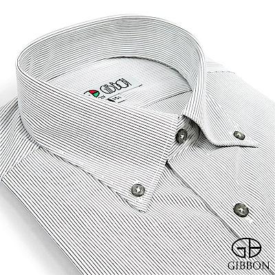 GIBBON 都會紳仕修身長袖襯衫‧細黑條