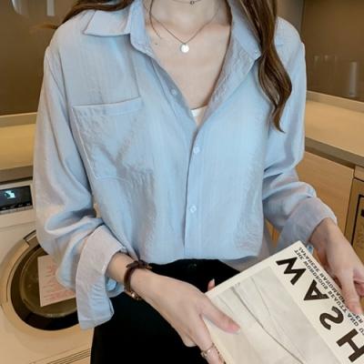 初色  韓版氣質長袖襯衫-共2色-(M-2XL可選)
