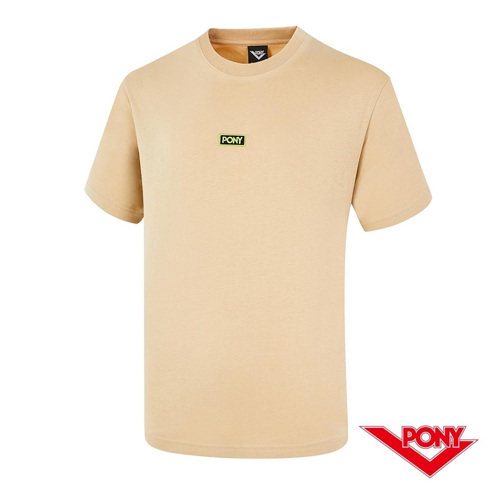 【PONY】刺繡LOGO短袖T恤上衣 男款-卡其