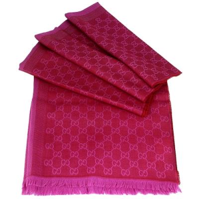 GUCCI 桃紅雙色 LOGO寬版長型混紡羊毛圍巾