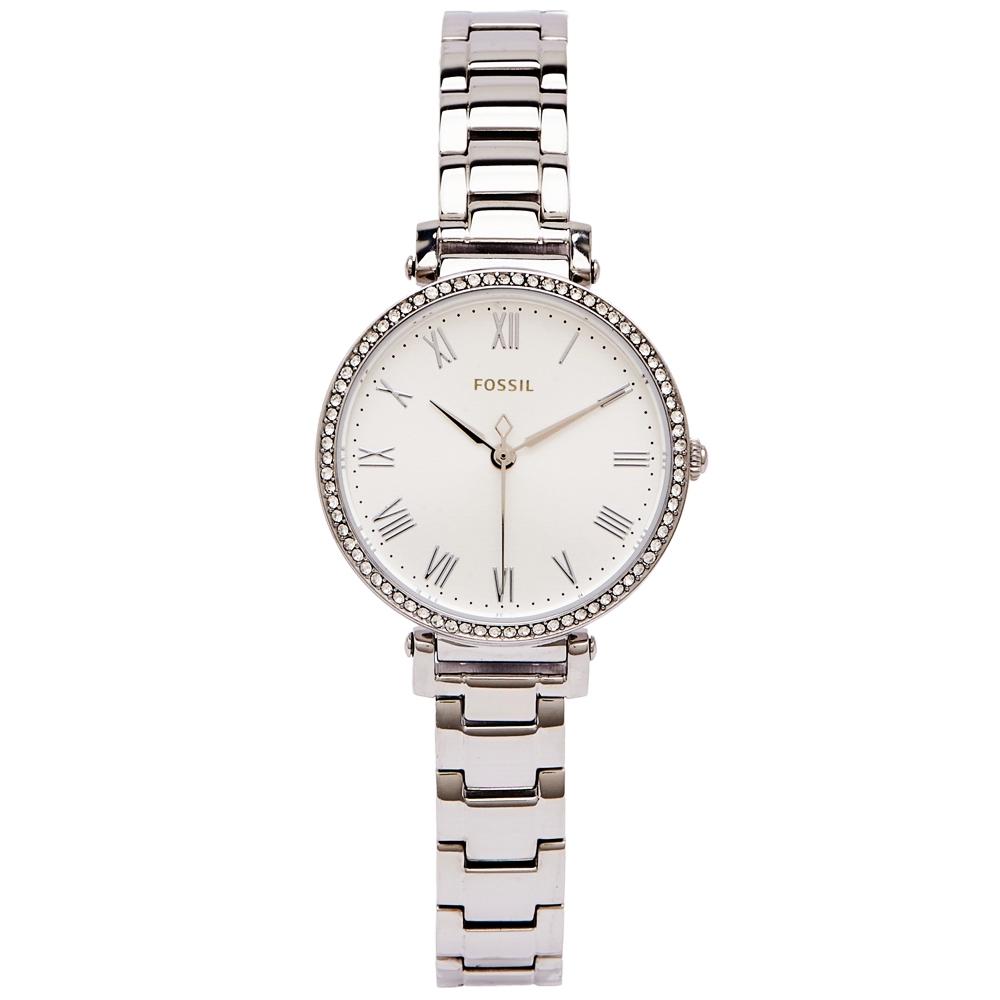 FOSSIL 羅馬風鑽鑲設計款的女性手錶(ES4448)-銀面x銀色/28mm