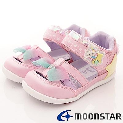 日本Carrot機能童鞋 獨角獸護趾後包涼鞋 ON034粉(寶寶段)