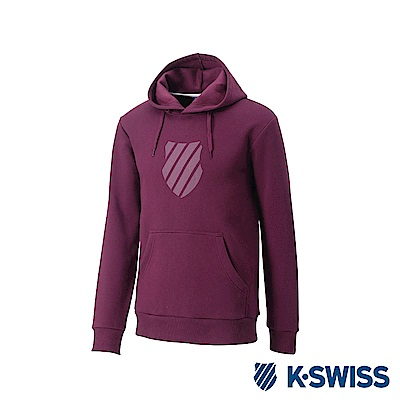 K-Swiss Shield Logo Hoodie 刷毛連帽上衣-男-酒紅