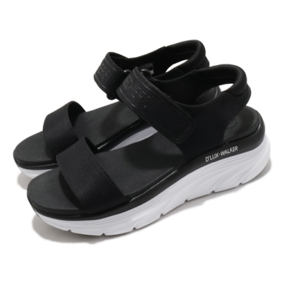 Skechers 涼鞋 D Lux Walker 休閒 女鞋 厚底 輕量 魔鬼氈 膠底 健行 郊遊 黑 白 119226BLK