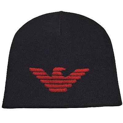 EMPORIO ARMANI 品牌大老鷹LOGO圖騰混羊毛造型帽(深夜藍)