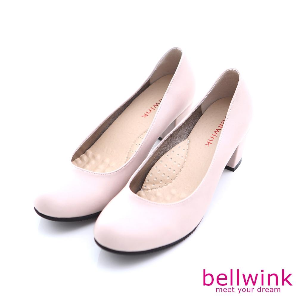 bellwink素面經典皮革低跟鞋-白色-b9901we