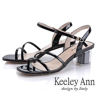 Keeley Ann造型透視跟 素雅線條中跟涼鞋(黑色-Ann系列)