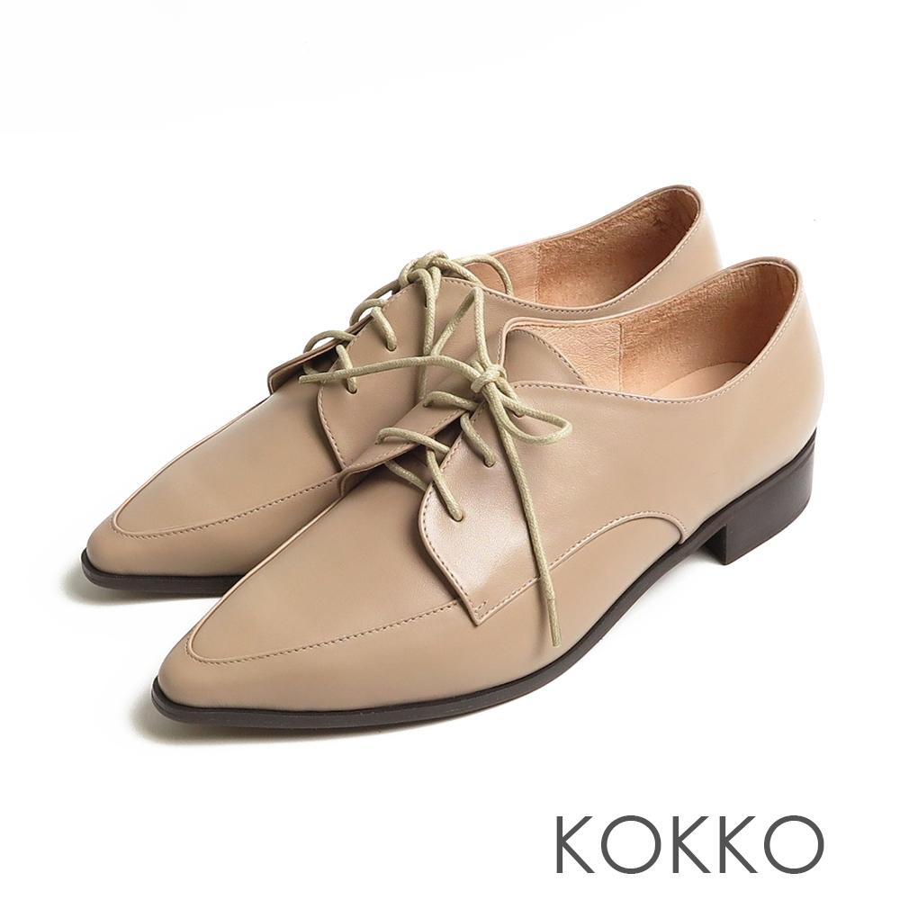 KOKKO方頭女紳啞光舒壓牛皮粗跟牛津鞋駝灰色