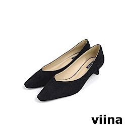 viina Basic 鞋頭剪接特殊跟型跟鞋 - 黑