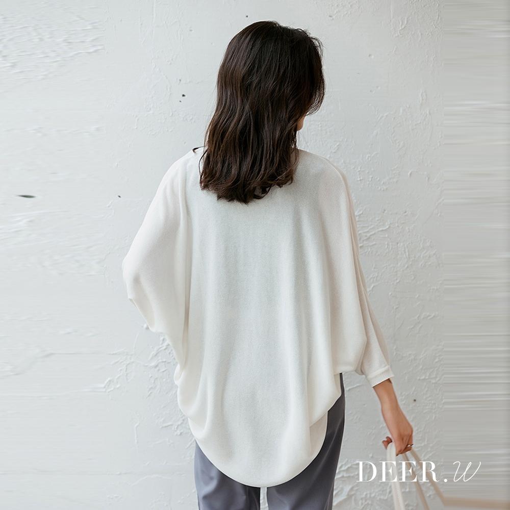 DEER.W 開襟飛鼠袖冰絲針織外套(白)