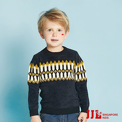 (宅配)JJLKIDS 英國騎士幾何毛衣(黑色)