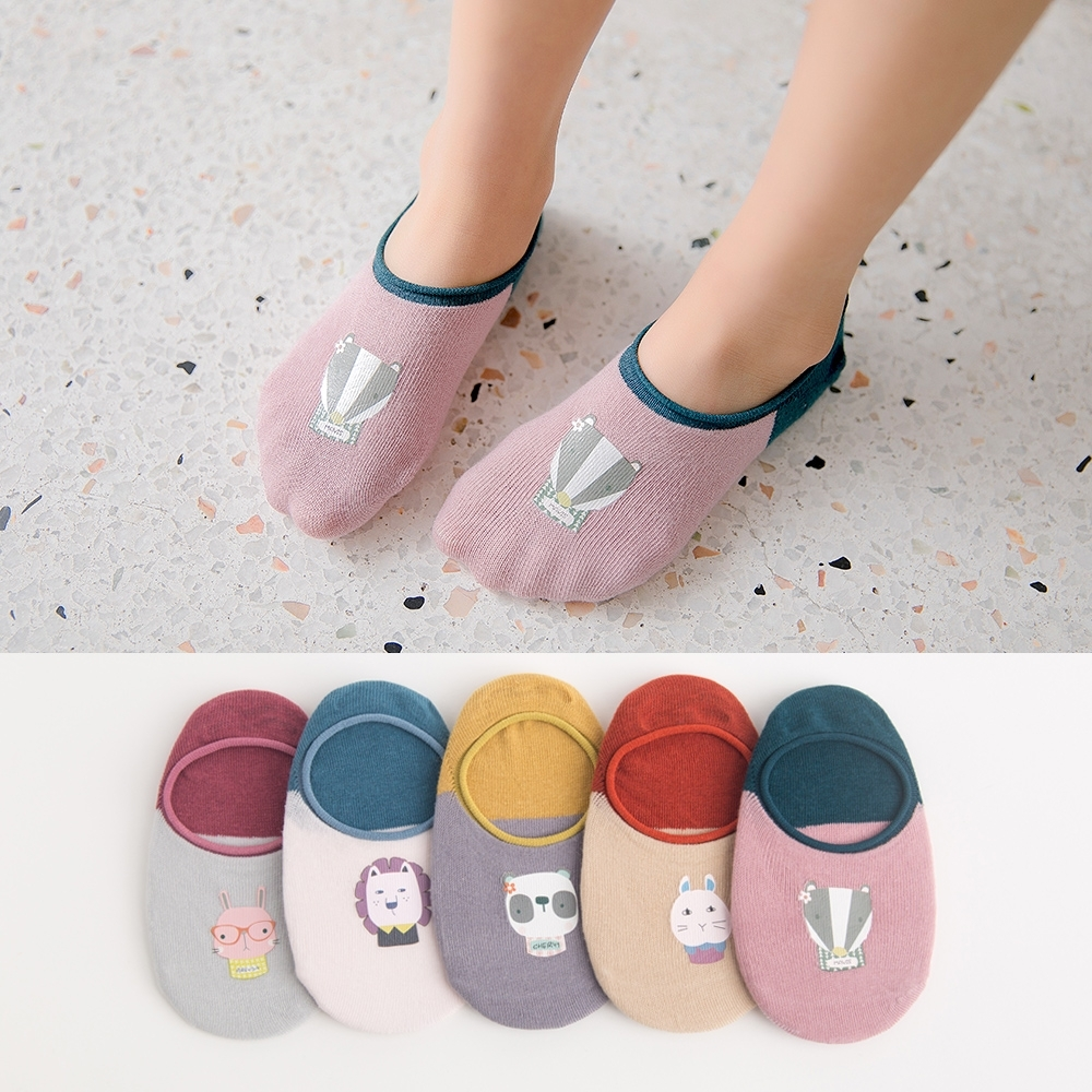 超萌可愛動物印花舒適透氣隱形襪船襪(5雙1組)