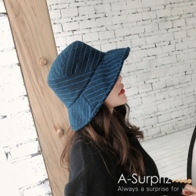 A-Surpriz 斜直條紋混紡毛呢漁夫帽(藍灰)